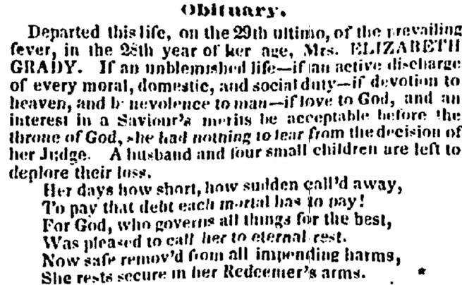 obituary for Elizabeth Grady, Charleston Courier newspaper article 5 October 1838