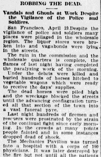 article about looters pillaging San Francisco during the 1906 earthquake, Charlotte Observer newspaper article 20 April 1906