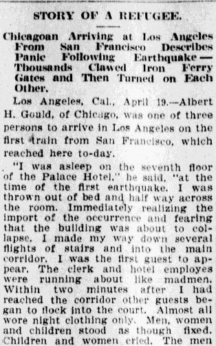 article about a survivor of the 1906 San Francisco earthquake, Charlotte Observer newspaper article 20 April 1906
