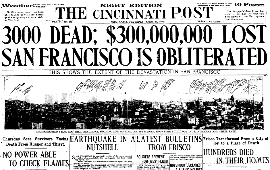 article about the 1906 San Francisco earthquake, Cincinnati Post newspaper article 19 April 1906