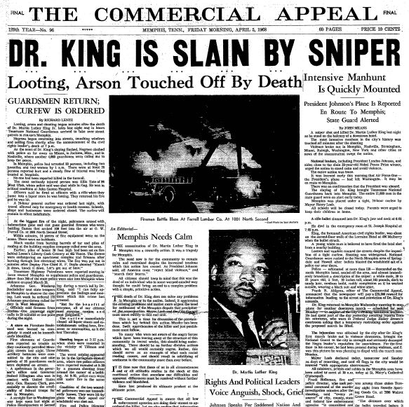 front-page news about the assassination of Dr. Martin Luther King Jr., Commercial Appeal newspaper articles 5 April 1968