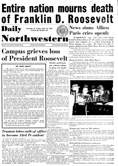 front page news about the death of President Franklin D. Roosevelt, Daily Northwestern newspaper articles 13 April 1945