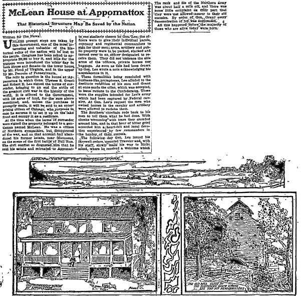 McLean House at Appomattox, Dallas Morning News newspaper article 22 February 1903
