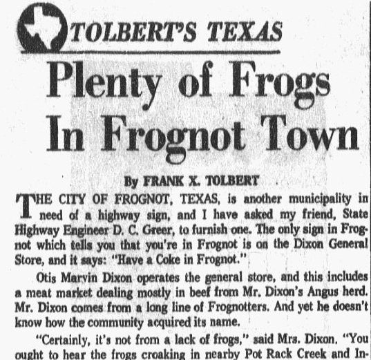Plenty of Frogs in Frognot (Texas) Town, Dallas Morning News newspaper article 25 February 1963