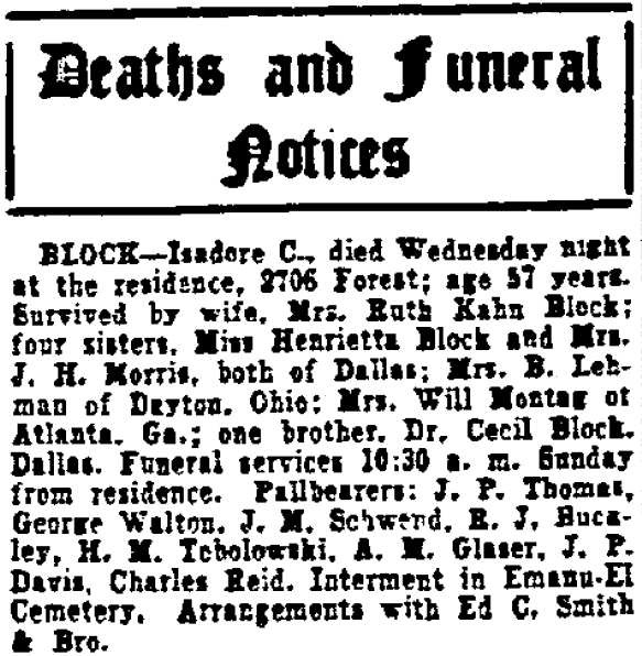 death notice for Isadore C. Block, Dallas Morning News newspaper article 2 March 1935