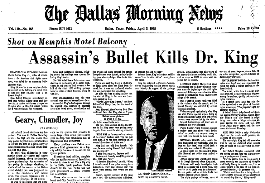 front-page news about the assassination of Dr. Martin Luther King Jr., Dallas Morning News newspaper articles 5 April 1968