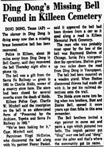 Ding Dong's (Texas) Missing Bell Found in Killeen Cemetery, Dallas Morning News newspaper article 15 June 1968