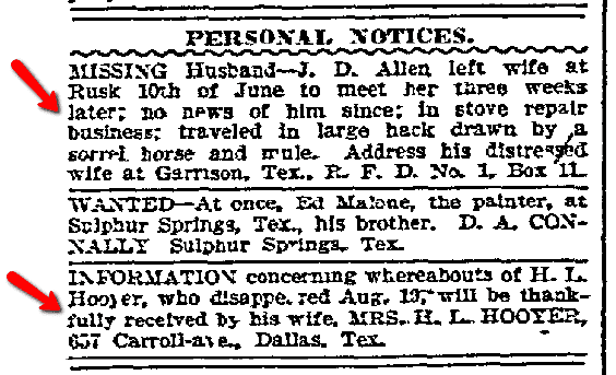 personal ads for missing husbands, Dallas Morning News newspaper advertisements 12 September 1907