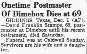 obituary for David Stamps, Dallas Morning News newspaper article 2 December 1946