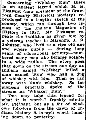 article about Whiskey Run, Indiana, Evansville Courier and Press newspaper article 1 June 1924