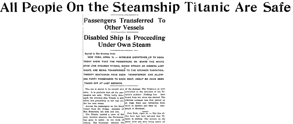 All People on the Steamship Titanic Are Safe, Evening News newspaper article 15 April 1912