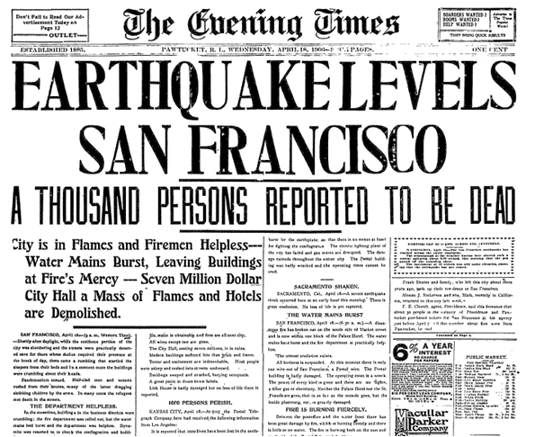 Earthquake Levels San Francisco, Evening Times newspaper article 18 April 1906