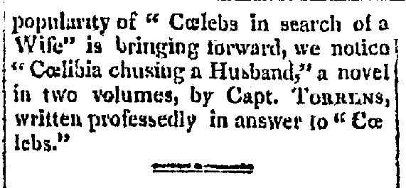article about caelebs, Gazette newspaper article 13 November 1809