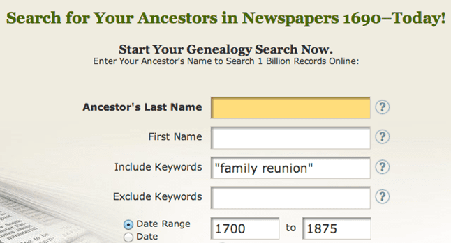 "screenshot of GenealogyBank's search page for ""family reunion"""