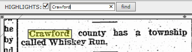 screenshot of a find feature in GenealogyBank