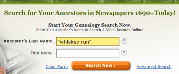 screenshot of a search on GenealogyBank for Whiskey Run, Indiana