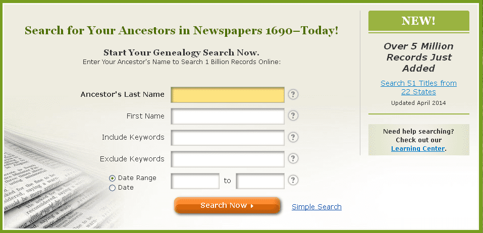screenshot of GenealogyBank's home page announcing that five million more newspaper articles have been added to its historical newspaper archives