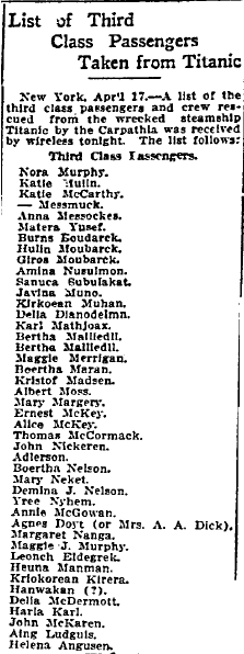 List of Third Class Passengers Taken from Titanic, Grand Forks Daily Herald newspaper article 18 April 1912