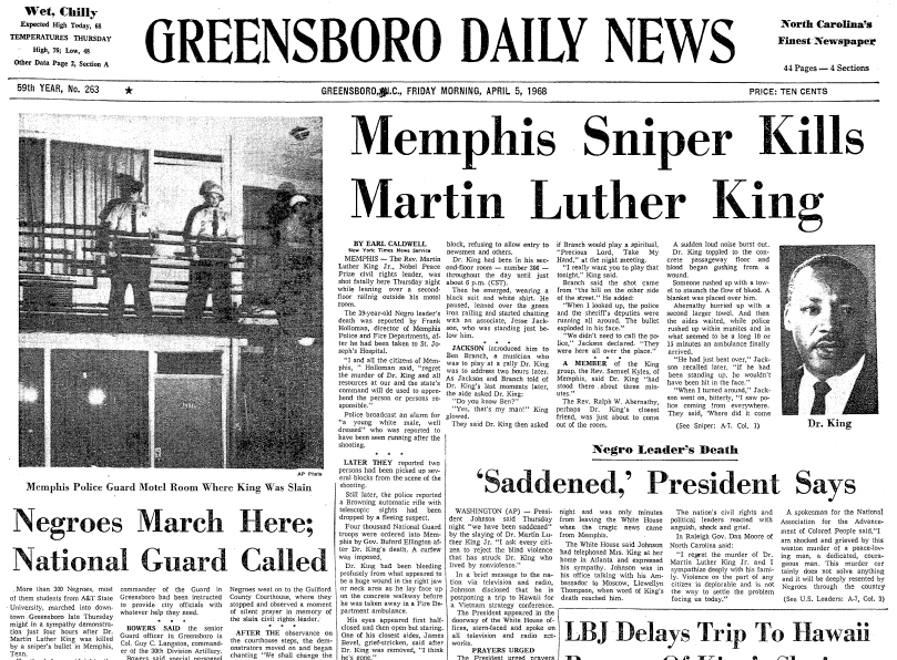 front-page news about the assassination of Dr. Martin Luther King Jr., Greensboro Daily News newspaper articles 5 April 1968
