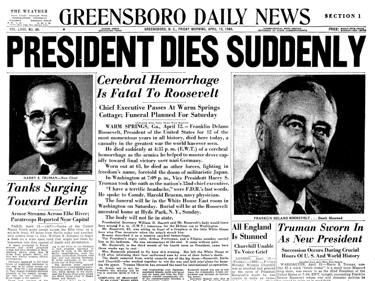 front page news about the death of President Franklin D. Roosevelt, Greensboro Daily News newspaper articles 13 April 1945