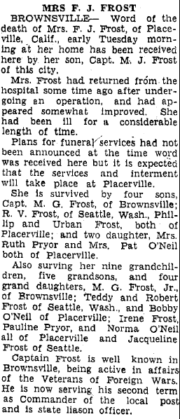 obituary for Mrs. F. J. Frost, Heraldo de Brownsville newspaper article 11 January 1939