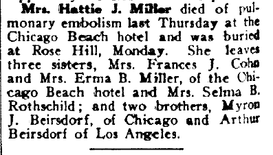 death notice for Hattie J. Miller, Hyde Park Herald newspaper article 14 December 1928