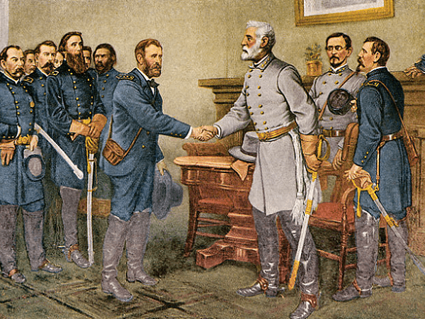 """Illustration: """"Peace in Union."""" The surrender of General Lee to General Grant at Appomattox Court House, Virginia, 9 April 1865. Reproduction of a painting by Thomas Nast. Credit: Wikimedia Commons."""