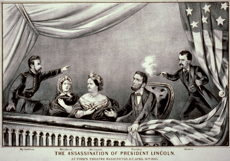 a lithograph by Currier & Ives of the assassination of President Abraham Lincoln, 1865