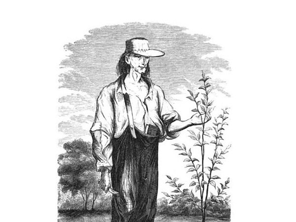 """Illustration: Johnny Appleseed, from H. S. Knapp's 1862 book """"A History of the Pioneer and Modern Times of Ashland County."""" Source: Wikipedia."""