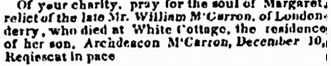 death notice for Margaret McCarron, Irish American Weekly newspaper article 10 January 1852