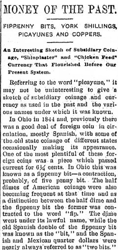 Money of the Past, Kalamazoo Gazette newspaper article  27 April 1898