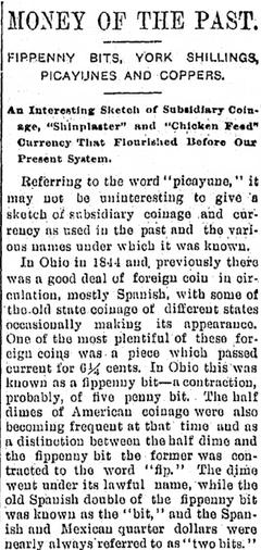 Money of the Past, Kalamazoo Gazette newspaper article  27 April 1898