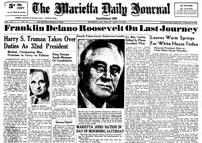 front page news about the death of President Franklin D. Roosevelt, Marietta Journal newspaper articles 13 April 1945