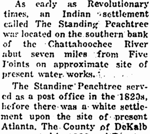 article about Standing Peachtree, Georgia, Marietta Journal newspaper article 2 November 1951