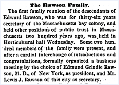 article about the Rawson family reunion, Massachusetts Spy newspaper article 11 October 1872