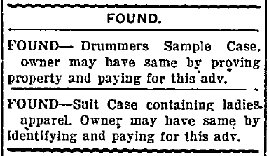newspaper lost and found ads, Morning Olympian newspaper advertisements 12 February 1919