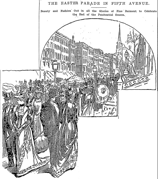 illustration of New York's Fifth Avenue Easter Parade, New York Herald newspaper article 18 April 1892
