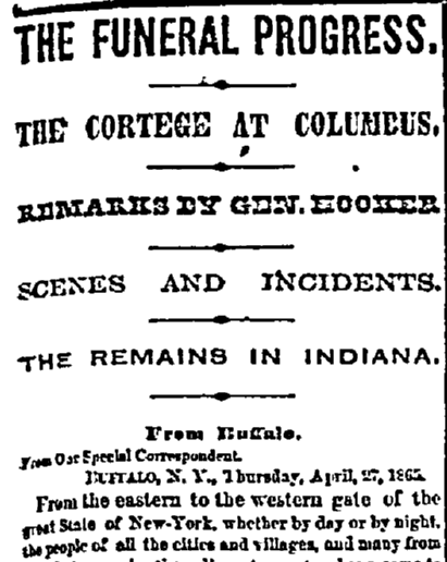 article about President Abraham Lincoln's funeral train, New York Tribune newspaper article 1 May 1865