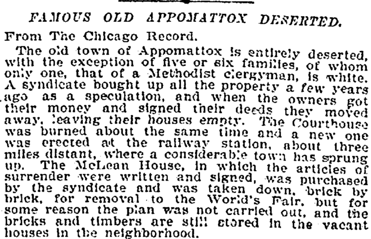 article about Appomattox Court House, Virginia, New York Tribune newspaper article 10 June 1894