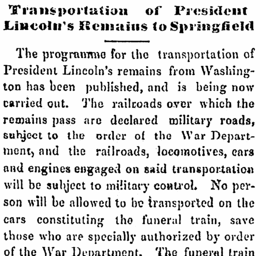 Transportation of President Lincoln's Remains to Springfield, North Star newspaper article 29 April 1865