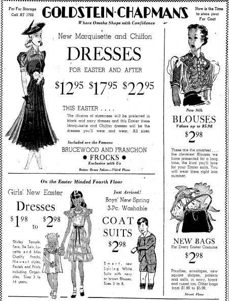 ad for Easter dresses, Omaha World Herald newspaper advertisement 15 April 1938