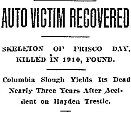 article about the recovery of the body of Frisco Day, Oregonian newspaper article 15 February 1913