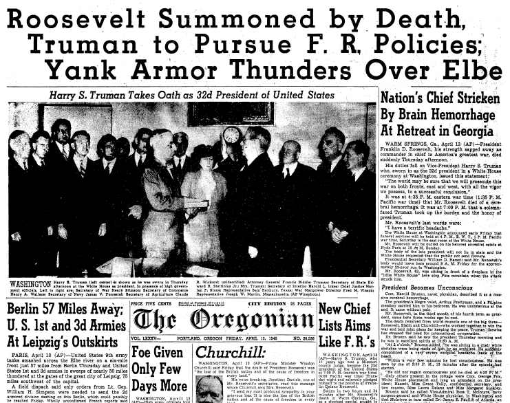 front page news about the death of President Franklin D. Roosevelt, Oregonian newspaper articles 13 April 1945