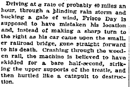article about the fatal car accident of Frisco Day, Oregonian newspaper article 12 June 1910