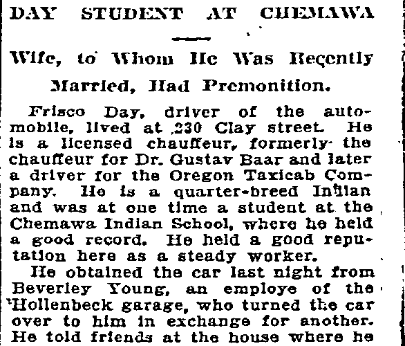 article about the fatal car accident of Frisco Day and his wife Bertha's grief, Oregonian newspaper article 12 June 1910
