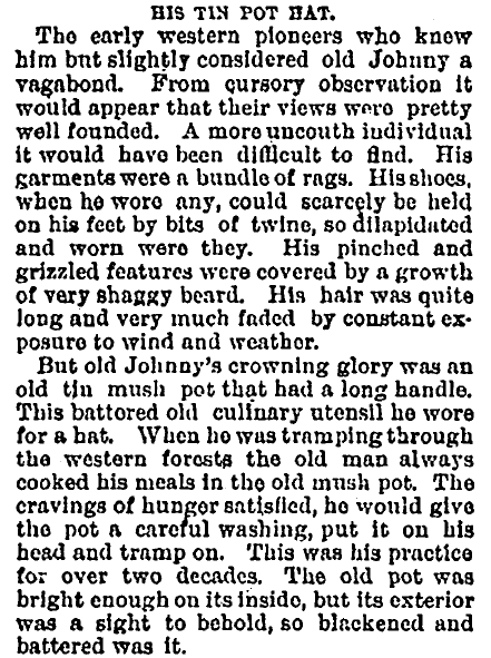 article about Johnny Appleseed, People newspaper article 23 August 1891