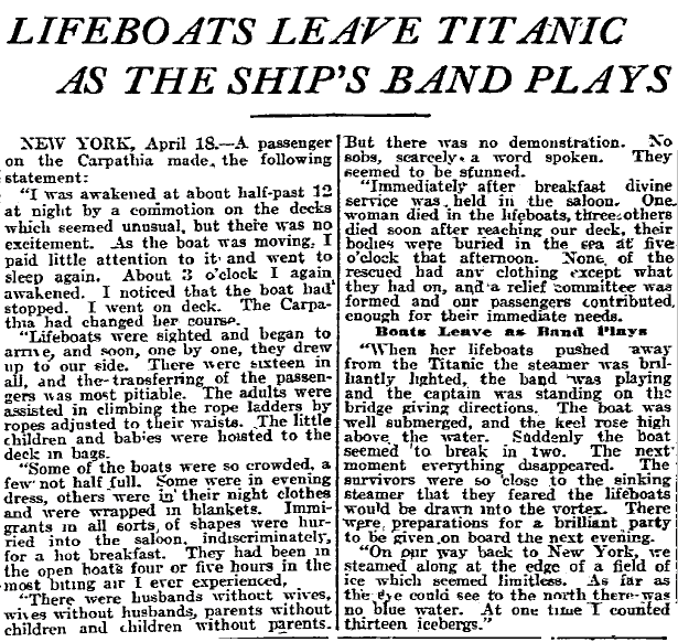 Lifeboats Leave Titanic as the Ship's Band Plays, Philadelphia Inquirer newspaper article 19 April 1912