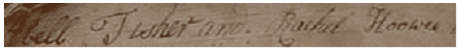 "photo of the name ""Hoowee"" spelled in the Mathias Fisher family Bible"