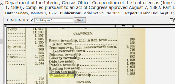 screenshot of a historical document from GenealogyBank showing the population of Whiskey Run, Indiana, in 1880