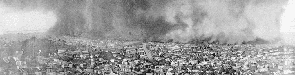 photo of the massive flames that engulfed San Francisco during the 1906 earthquake